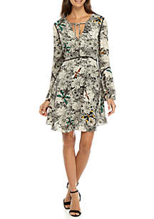 Dragon Fly Printed A-Line Tie Neck Dress