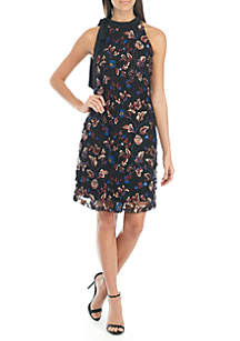 Sleeveless Bow Neck Embroidered Dress