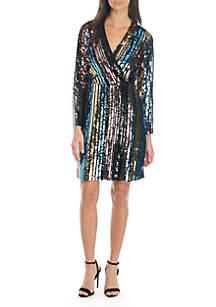 Long Sleeve Stripe Sequin Dress