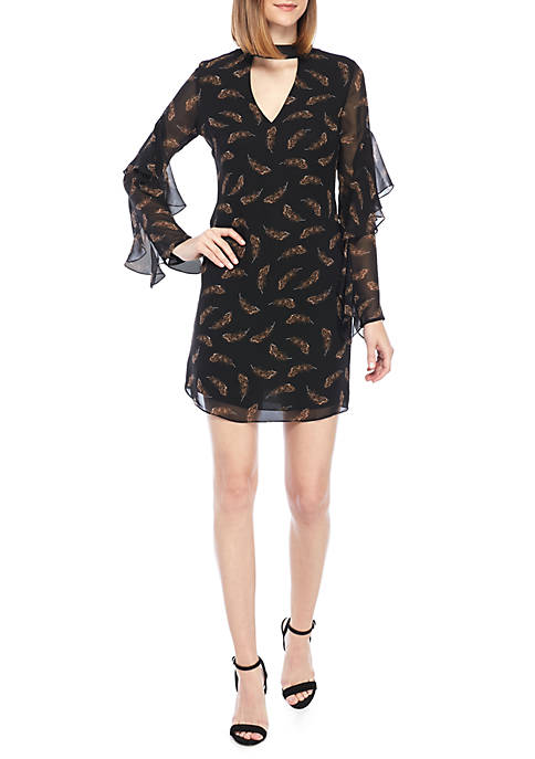 Sam Edelman Feather Print Choker Dress
