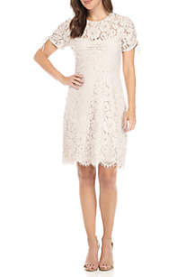 Short Sleeve Allover Lace Shift Dress