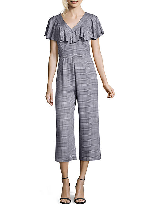 Nicole Miller STUDIO Ruffle Sleeve Glen Plaid V-Neck
