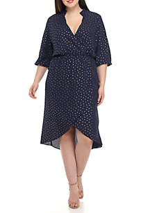 Plus Size Long Sleeve Dot High Low Maxi Dress