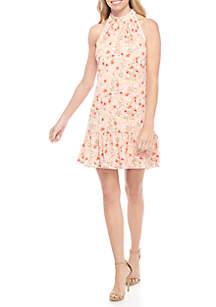 Floral Halter Flounce Dress