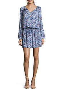 Long Sleeve Cinch Waist Print Dress