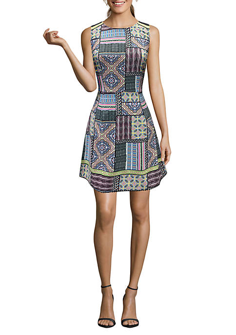 Nicole Miller STUDIO Printed Fit-and-Flare Dress