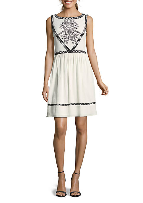 Nicole Miller STUDIO Embroidered Fit-and-Flare Dress