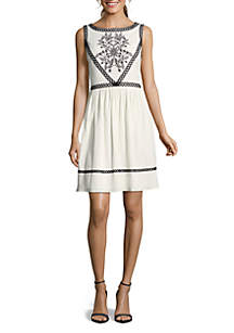 Embroidered Fit-and-Flare Dress