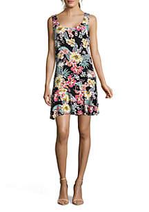 Sleeveless Tropical Ruffle Hem Dress