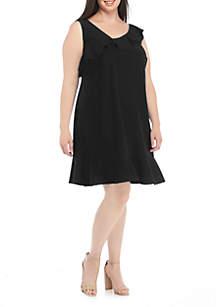 Plus Size Solid Drop Waist Ruffle Hem Dress