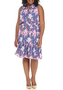 Plus Size Sleeveless Allover Floral Drop Waist Dress