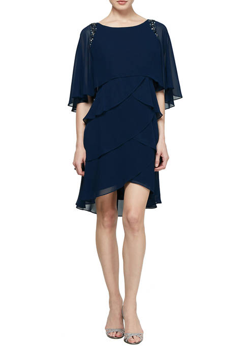 Womens Beaded Shoulder Tier Attached Cape Dress