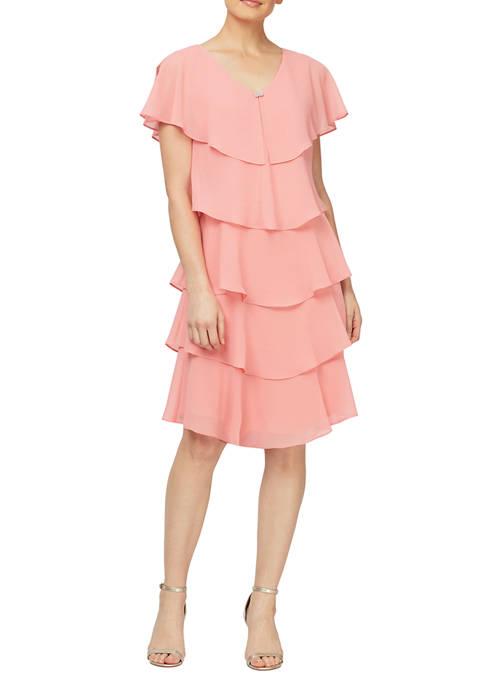 Womens Pebble Georgette Caped Tier Dress