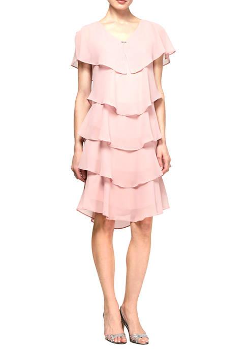 SLNY Womens Pebble Georgette Caped Tier Dress