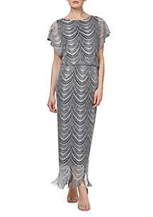 SLNY Crochet Long Blouson Dress