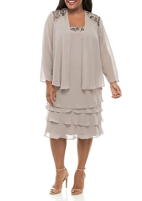 Plus Size Jacket and Dress with Sequin Cut Out Applique Set