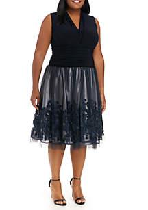 1e794c8dc4a ... SLNY Plus Size Soutache Embroidered Lace Dress