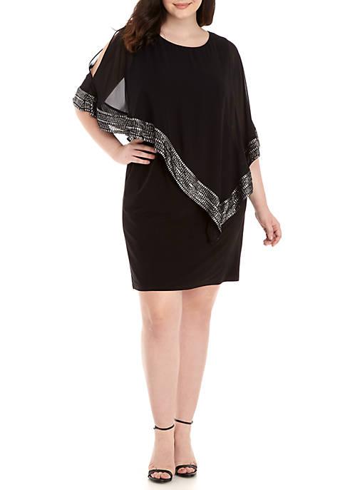 Plus Size Overlay Jewel Detail Short Dress
