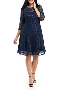 Plus Size 3/4 Sleeve Fit and Flare Dress