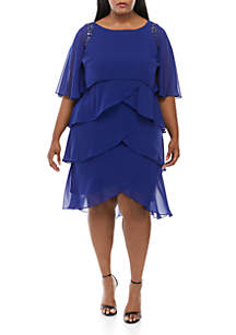 SLNY Plus Size Cape Chiffon Dress