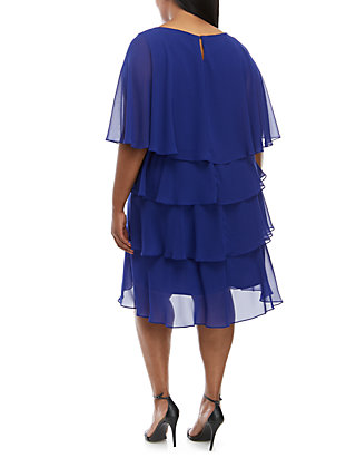 Plus Size Cape Chiffon Dress