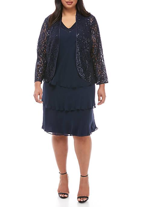 SLNY Plus Size Sequin and Chiffon Jacket Dress