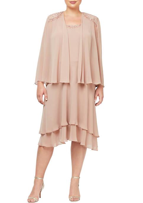 SLNY Plus Size Two Piece Tiered Jacket Dress