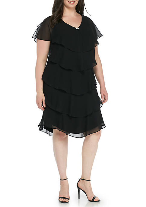 Plus Size Short Sleeve Tiered Ruffle Dress