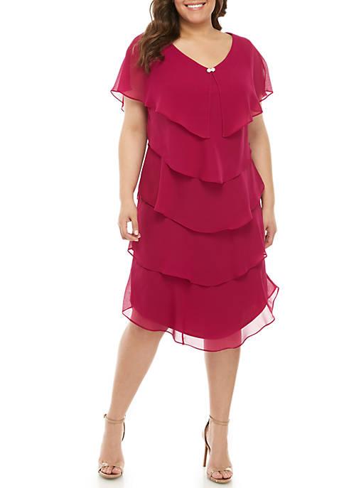SLNY Plus Size Short Sleeve Tiered Ruffle Dress