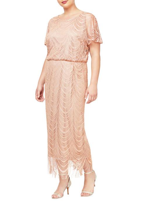 Plus Size Crochet Long Blouson Fringe Dress