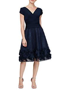 Short Sleeve Rosette Trim Dress