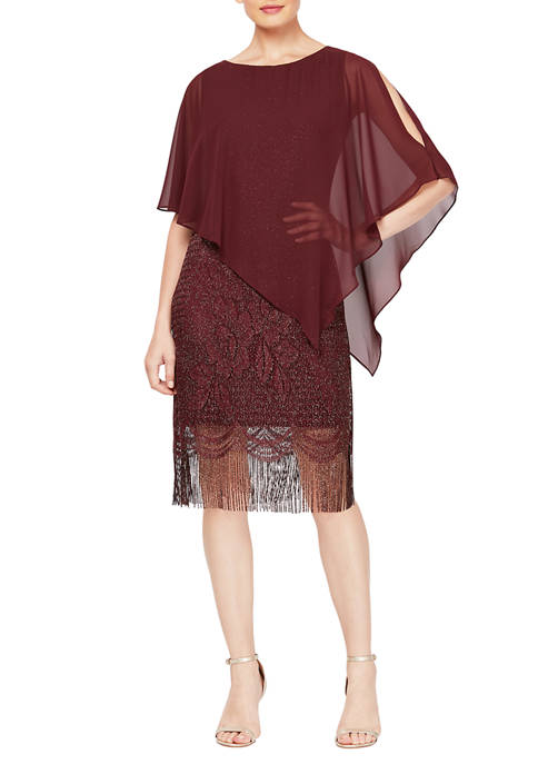 Womens Crochet Lace Fringe Dress with Attached Chiffon Cape