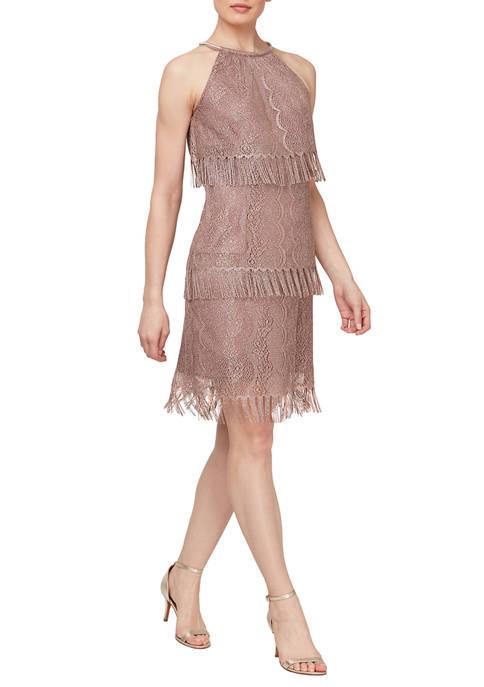 Womens Sleeveless Chrochet Fringe Tier Dress