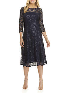 Lace Sequin 3/4 Sleeve Dress
