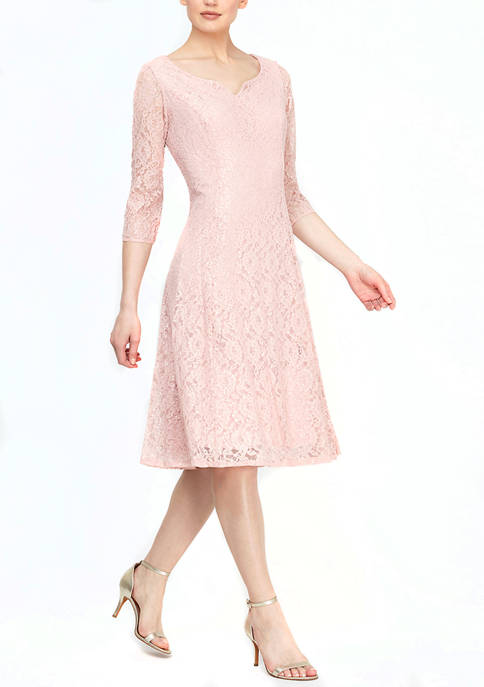 3/4 Sleeve Lace Sequin Tea Length Dress