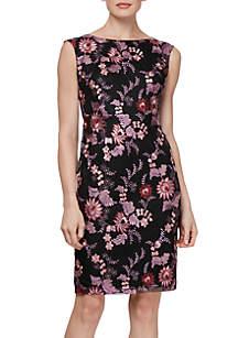 Sleeveless Embroidered Print Sheath Dress
