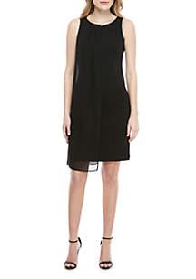 SLNY Sleeveless Overlay Pearl Neck Dress