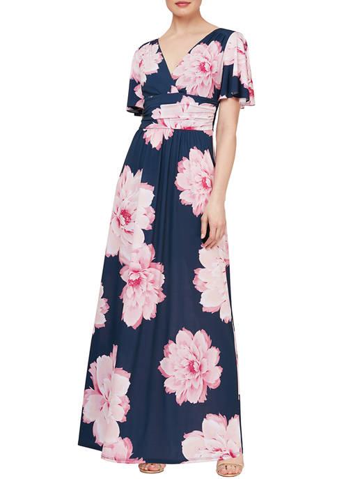 SLNY Multi Colored Floral Maxi Dress
