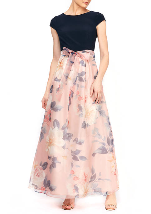 Gown with Printed Organza Skirt