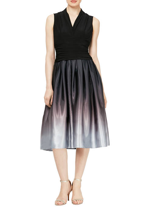 Womens Sleeveless Ruched Waist Bodice with Satin Charmeuse Skirt Party Dress