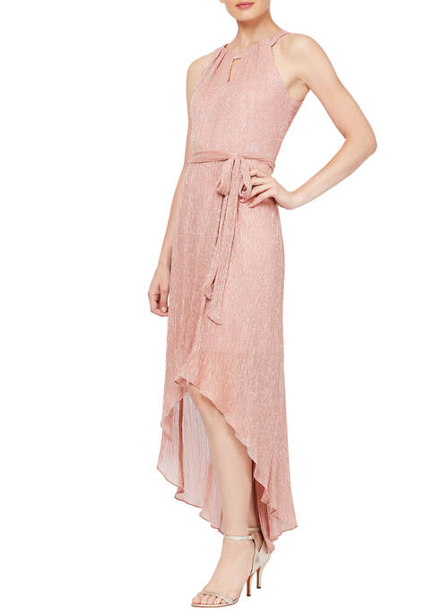 SLNY Womens Glitter High Low Dress with Halter