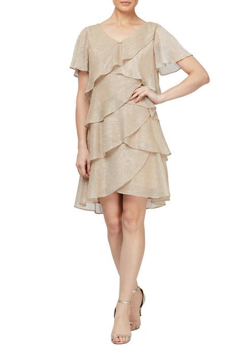 Womens Shimmer Bodre Short Sleeve Tier Dress with Embellishment at Neckline