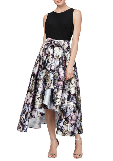 SLNY Sleeveless Solid Top Printed Skirt Belted Party
