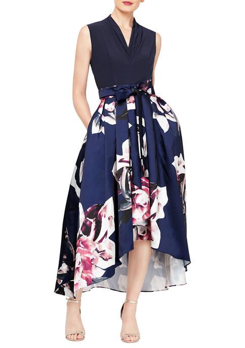 Womens V Neck Floral Printed Mikado Skirt Party Dress