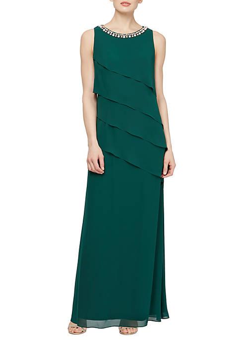 Long Asymmetrical Chiffon Dress with Embellishments