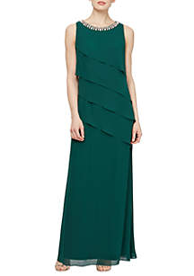 SLNY Long Asymmetrical Chiffon Dress with Embellishments