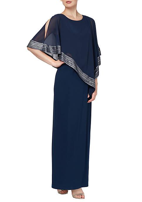 Metallic Trim Cape Long Dress
