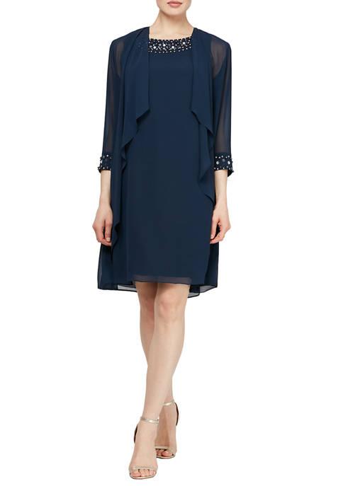 Sleeveless Jacket Dress with Beading at Neckline
