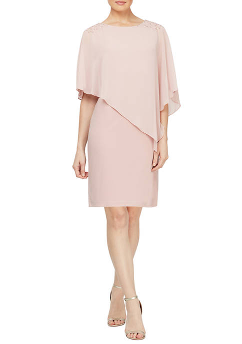 Womens Asymmetrical Cape with Beaded Shoulder Dress