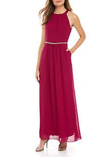 SLNY Embellished Chiffon Maxi Gown